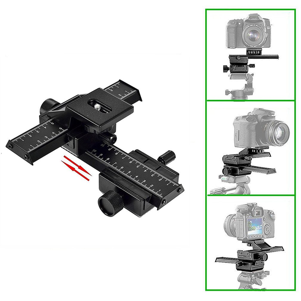 "Universal 4 Way Macro Focusing Focus Rail Slider Close-up Shooting Gimbal for DSLR SLR Camera with Standard 1/4"" Screw"