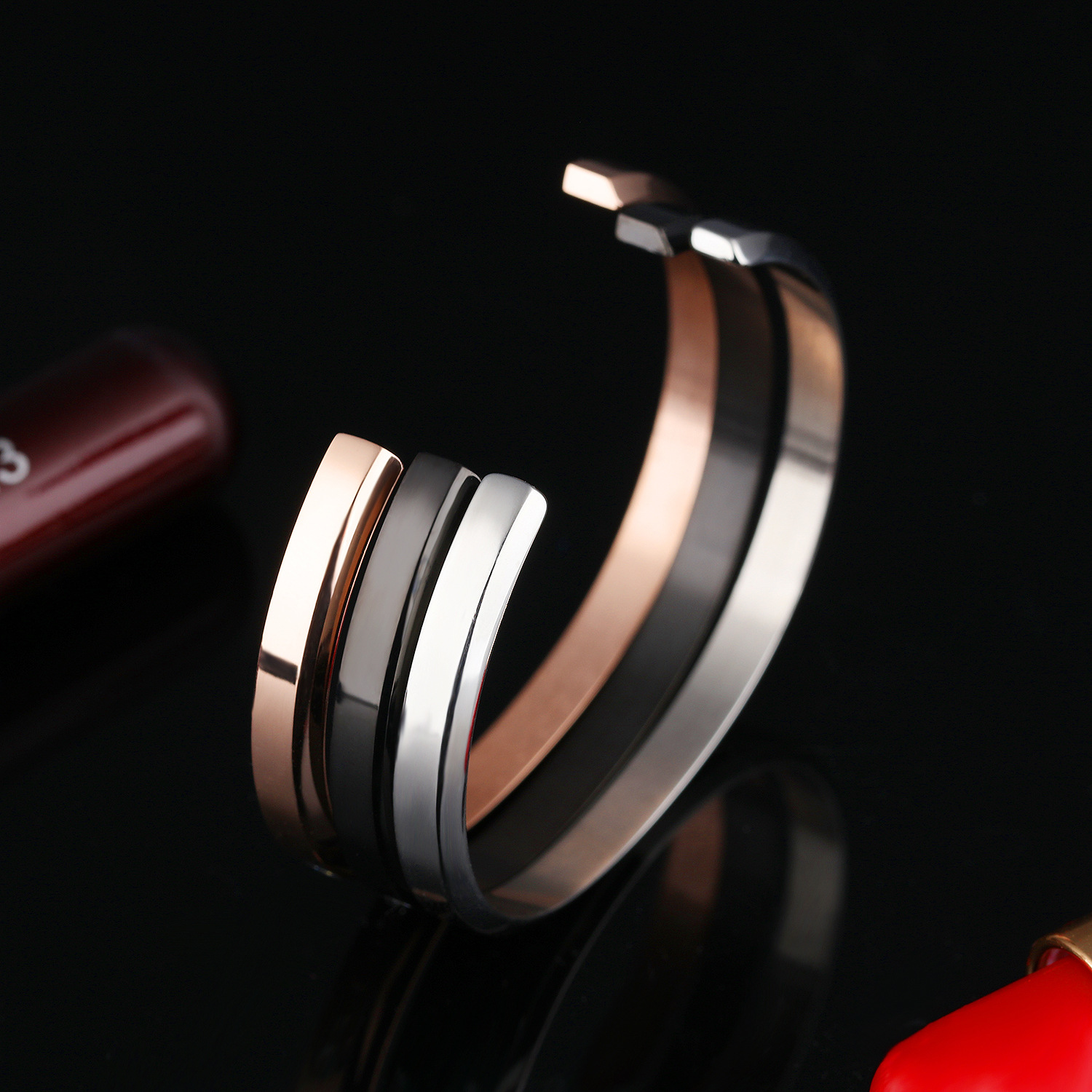 Custom Stainless Steel Couple Bangle DIY Letters Inset Zircon Three Colors Cuff Bangles For Couple