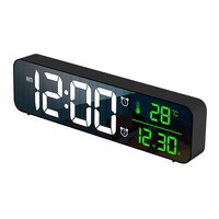 smart digital display night light digits LED display date temperature indoor desk clock wall clock with classic soothing music