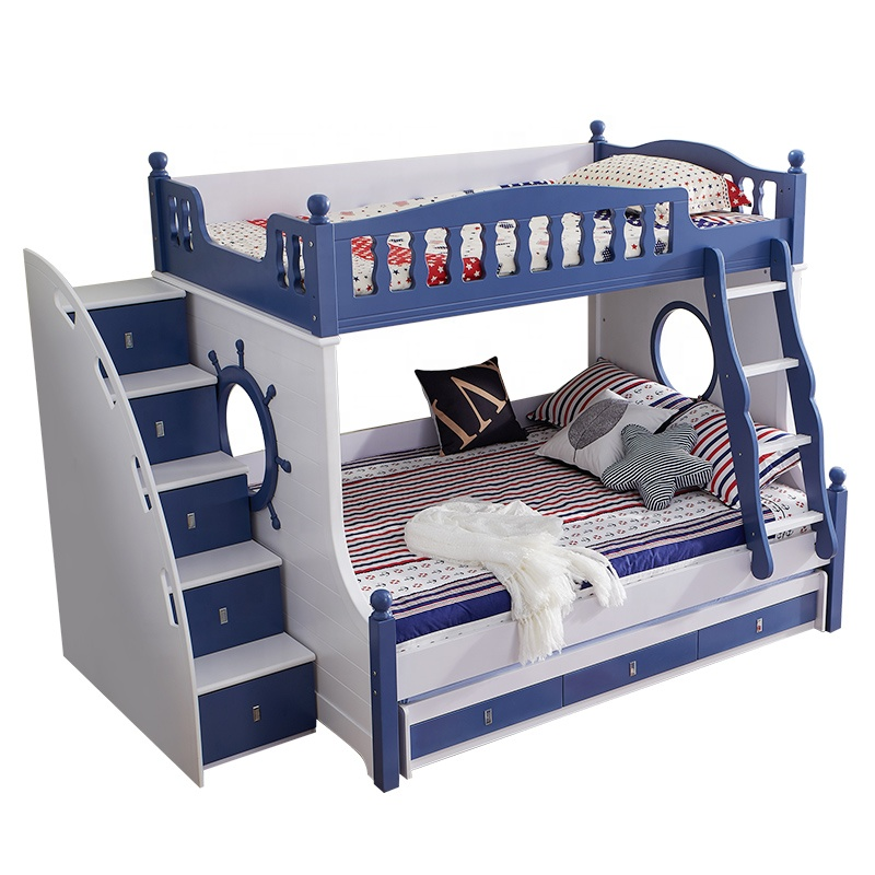 Hot Selling Children Furniture Solid Wood and MDF Bunk <strong>Bed</strong> for Kids <strong>Bed</strong> Blue for Boy