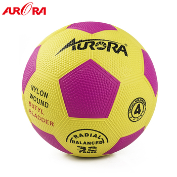 hot-selling pink-yellow  rubber football ball size 4 soccer training ball