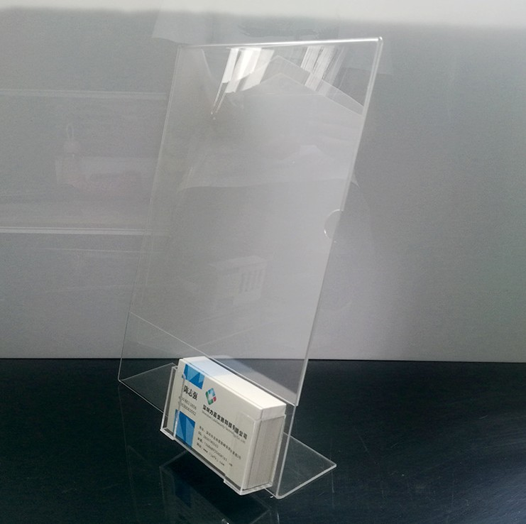 Clear Acrylic Paper Sign Table Menu Holder Display With Small Business Card Box