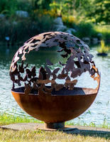 butterfly 24inch metal ball fire pit for garden