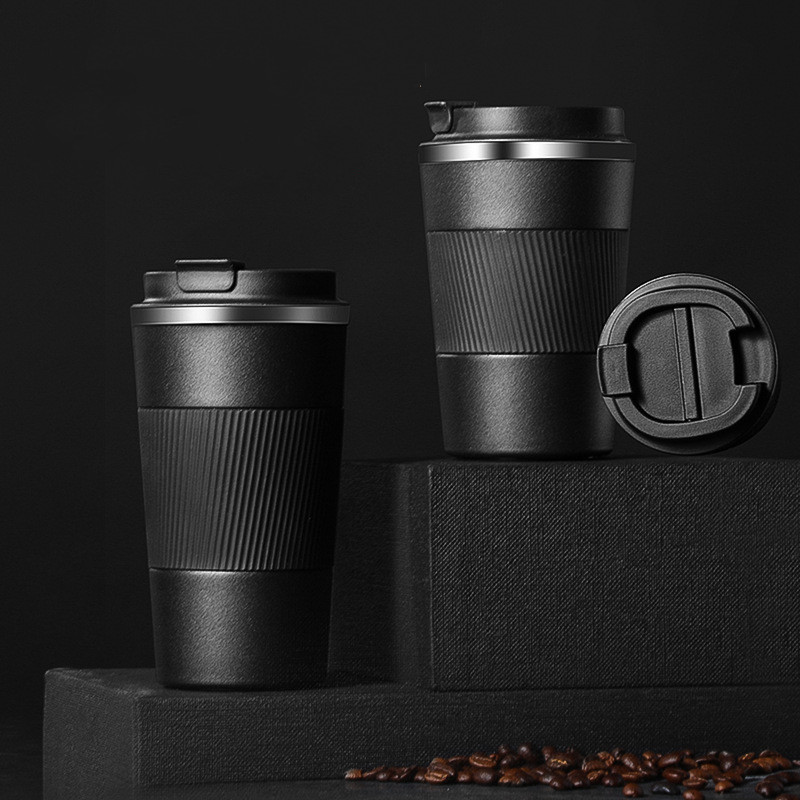 New Products Non-slip Silicone Sleeve Coffee Mug Double Stainless Steel Vacuum Flask Insulated Water Bottle Travel Mug