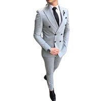 Grey Men Suits Double Breasted Design 2 pieces Formal Men Wear for Wedding Prom Dress Blazers