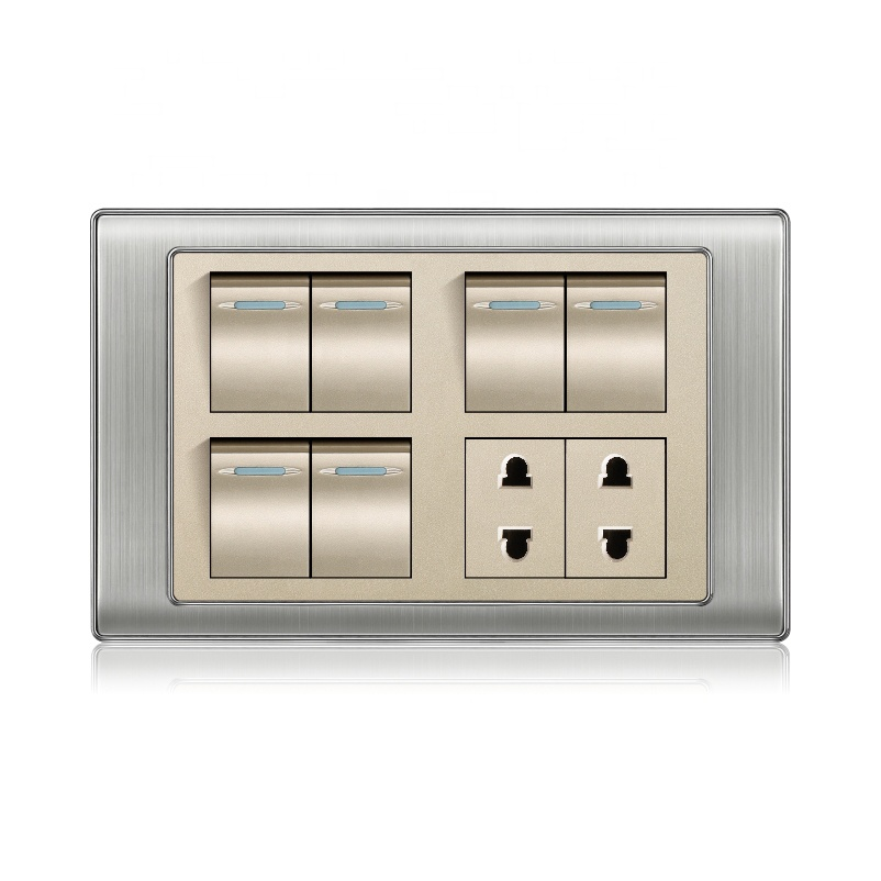 Latest superior quality pakistan 6 gang + 2 socket electrical wall <strong>switch</strong> and socket