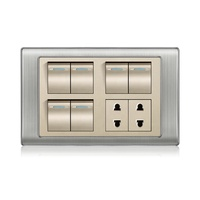 Latest superior quality pakistan 6 gang + 2 socket electrical wall switch and socket