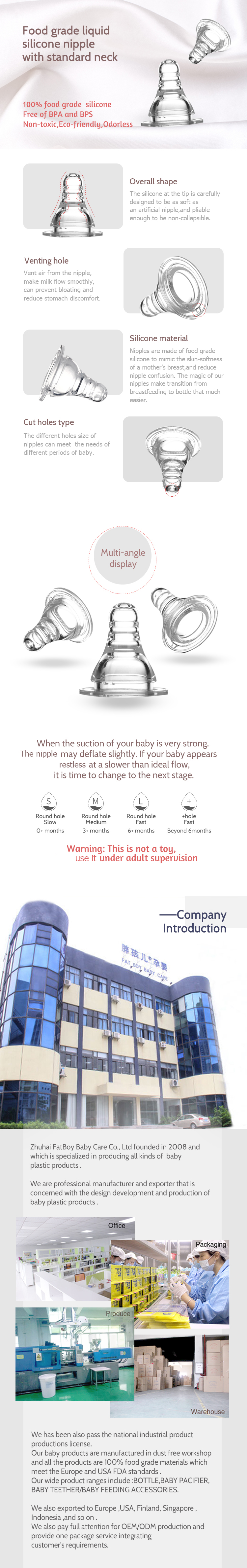 Food Grade Bpa Free Standard Neck Silicone Baby Nipple