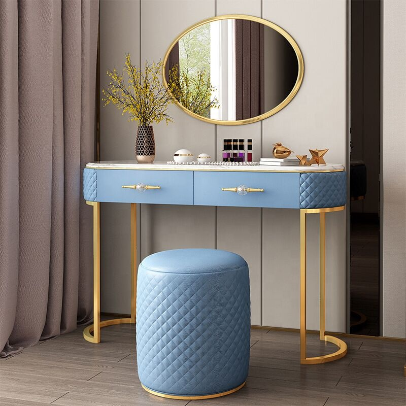 Bedroom furniture dressing sets modern makeup dresser with mirror <strong>lights</strong> marble top dressing table with stool