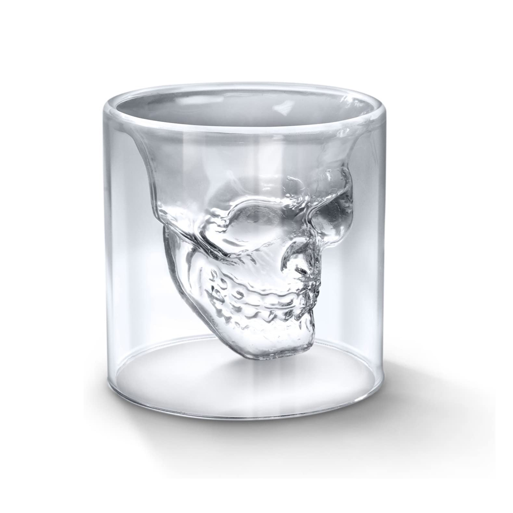 Double wall crystal skull head shape shot <strong>glass</strong> for Halloween gifts