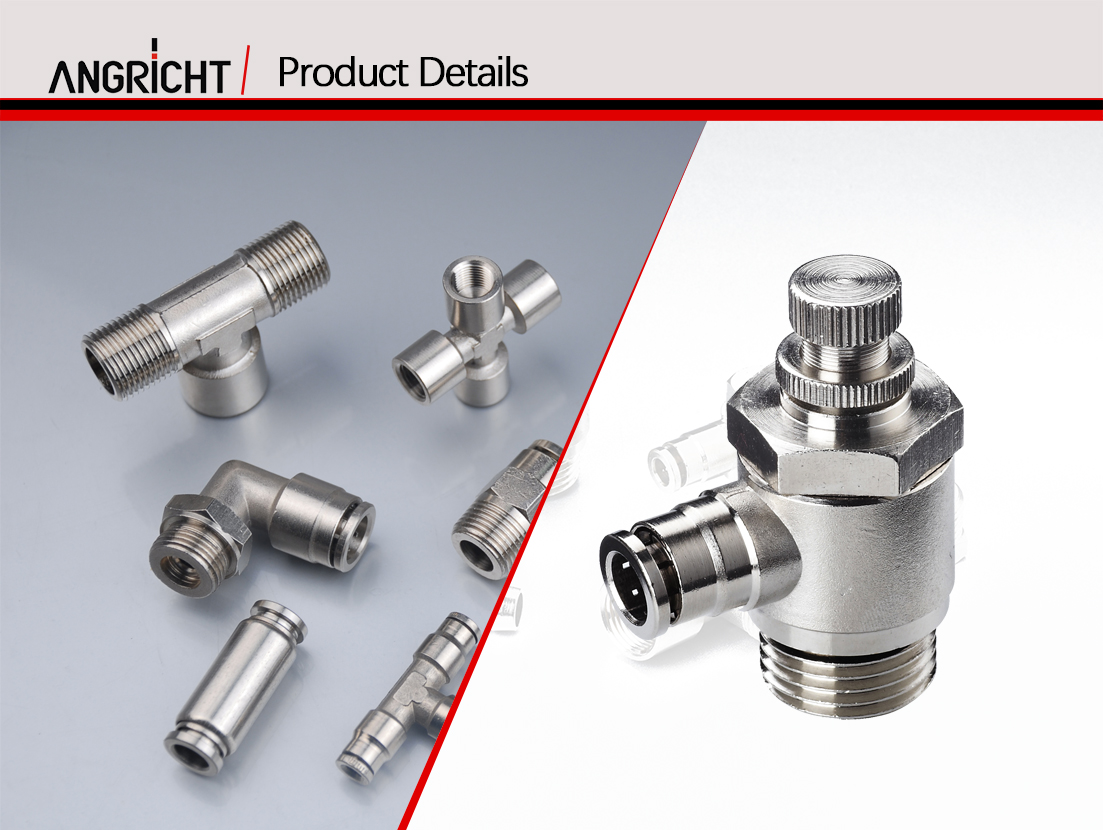 Efficient automatic air push pneumatic fitting High quality brass fittings male gas nipple metal