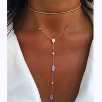 rose gold plated turkish jewelry cute lovely tiny enamel Evil eye charm LONG Y lariat necklace