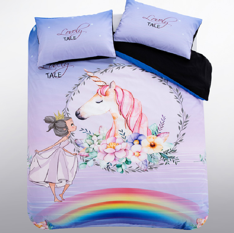 Hot selling 3D unicorn print 100% microfiber duvet cover bed <strong>sheet</strong> and bedding set in good price
