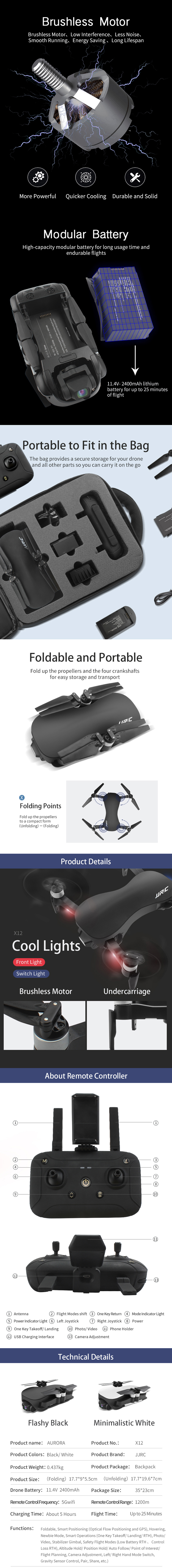 Professional JJRC X12  Brushless Dual GPS 3-Axis Gimbal 4k Camera With 1.2KM Control Distance and  25 Mins Flight