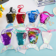 Fashion model mermaid tail sequin lanyard coin purse children diagonal long rope coin bag small <strong>wallet</strong> wholesale