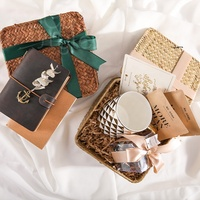 Cocostyles custom handmade vintage woven basket bridal gift set with ribbon for garden wedding guest gifts