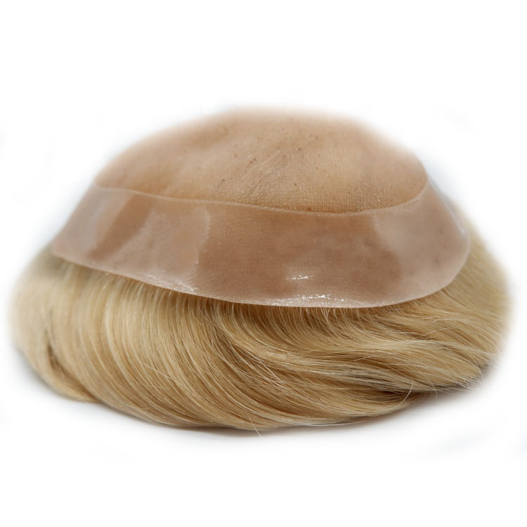 Barbershop 100% Human Hair Wig Best Quality Indian Remy Hair Units Blonde Color Hot Sale <strong>Promotion</strong> Price Human Toupee