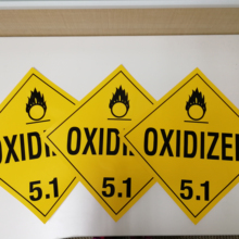 "Oxidizer Worded Placard 10.75""x10.75""Permanent Vinyl Pack of 25 Label Hazard Class 5.1"