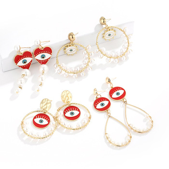 Fashion New Design Red Statement Evil Eyes Earrings Gold Round Pearl Pendant Earrings For Women Girls
