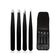 4pcs Eyebrow Tweezers Set Stainless Steel Eyebrow Clip Tweezers Black Eyelash Extension Tweezers