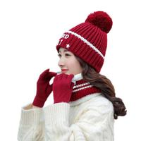 Hot sale pom pom knitted beanie scarf & gloves set for Amazon