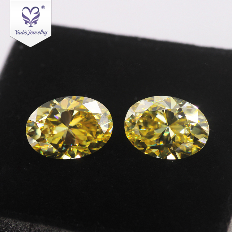 Yadis Wholesale Vivid Yellow moissanite Oval <strong>Cut</strong> 5*7mm 0.67ct For Jewelry Custom pendant necklace