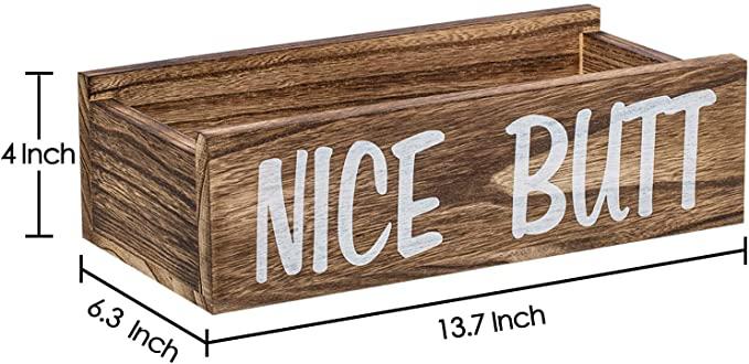 Farmhouse Funny Bathroom Decor Wooden Box Toilet Paper Creat Holder