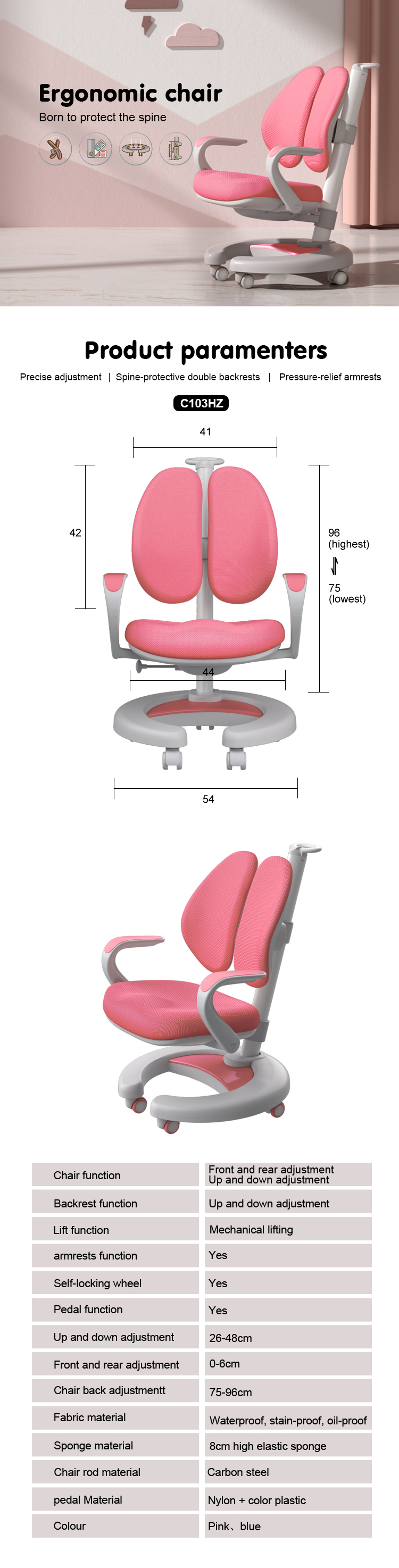 IGROW  Prevent myopia of students study chair  and study chair with writing