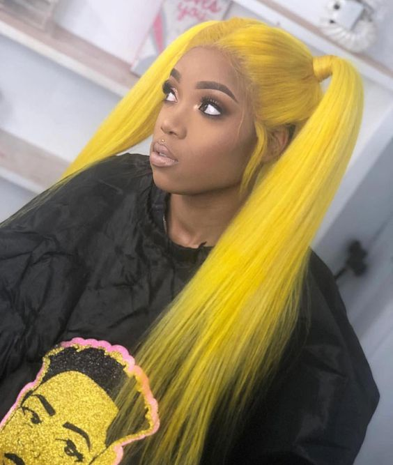 Natural Girls Hair Lace Wig Human Hair Virgin Brazilian Color Yellow Ladies' Wigs Straight Lace Front Wigs for Black Women