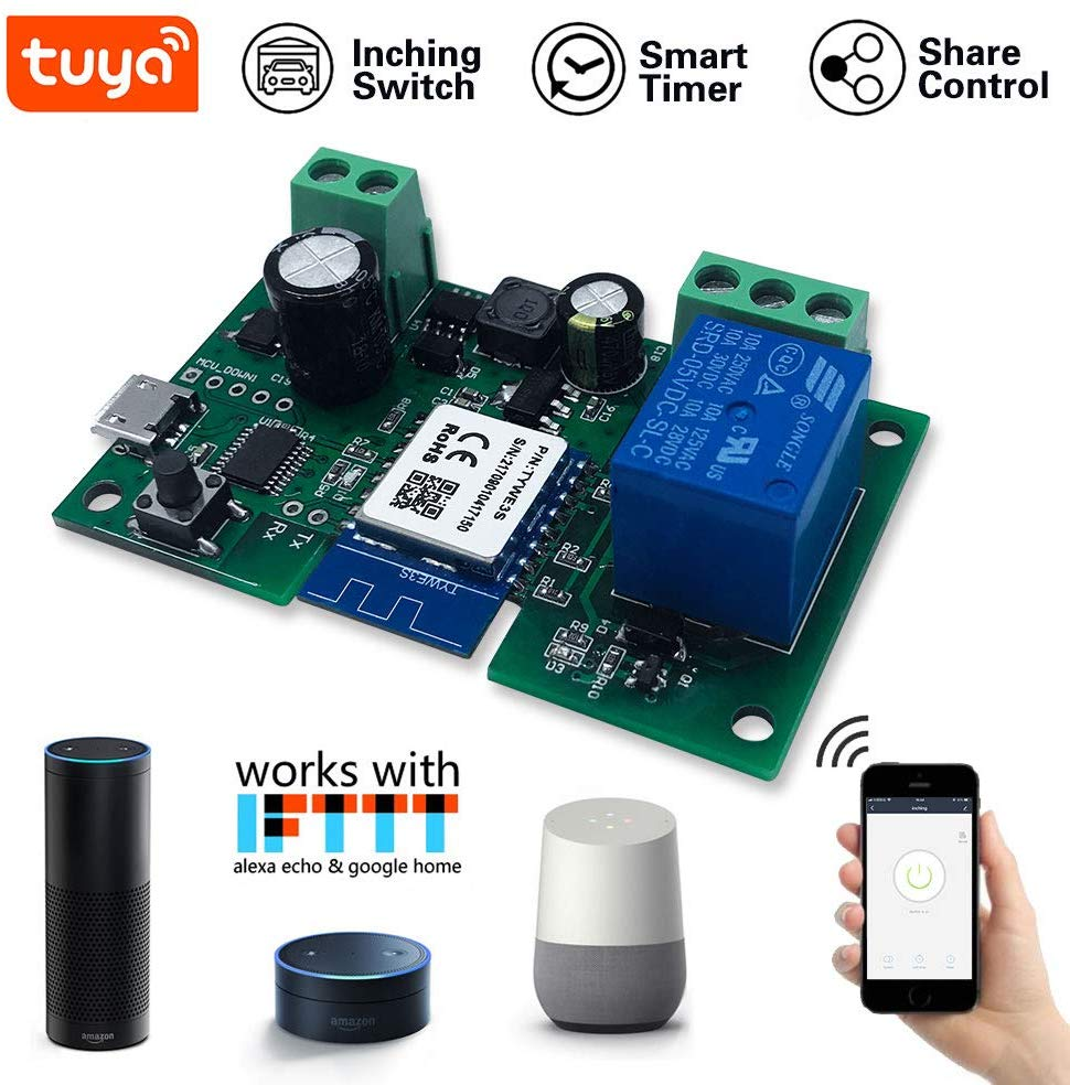 Smart WiFi Wireless Inching Relay Switch Momentary 5V DIY Smart Relay Module Compatible With Alexa Echo IFTTT