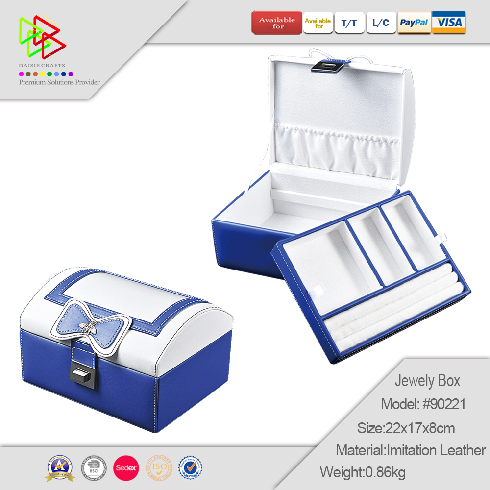 hand made high quality faux leather jewelry box  jewellery storage