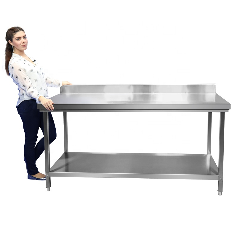 Kitchen Worktable Metal Stainless Steel Commercial With Backsplash commercial kitchen equipment for restaurants/hotels