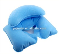 Hot Selling Cheap Light Blue Flocking Pvc U Shape Double-Deck Neck And Body Inflatable Pillow For Travel