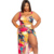 Plus size printed swimwear women one-piece bikini beachwear swimsuit