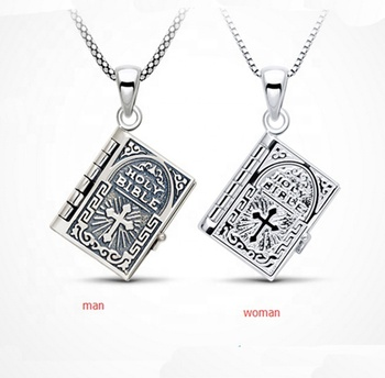 Vintage classical holy bible book style 925 Sterling Silver Pendant for engagement