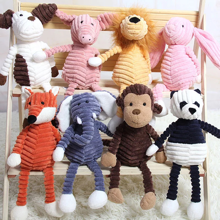 Wholesale Baby Corduroy Elephant Lion Fox Rabbit Pig Panda Duck Monkey Soft Stuffed <strong>Plush</strong> Animal Comforter