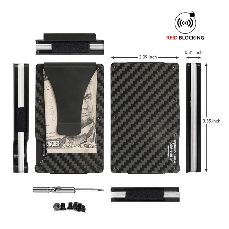 2020 Newest design Carbon Fiber RFID blocking Minimalist Slim Aluminum Wallets for Men