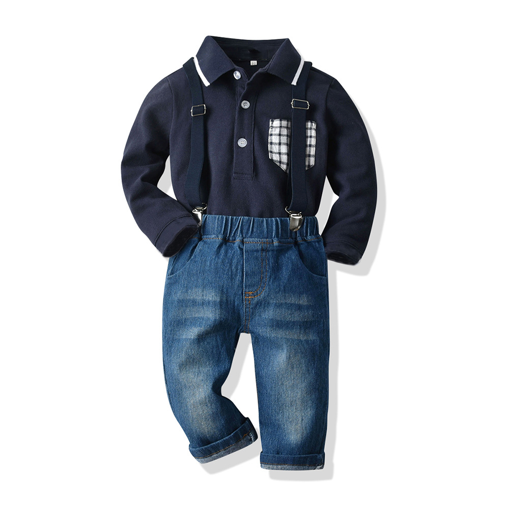 New Arrival Baby Boys Clothing Set Children Shirt with Suspender <strong>Jeans</strong> 2-Piece Outfit Fashion Kids spring autumn Clothes