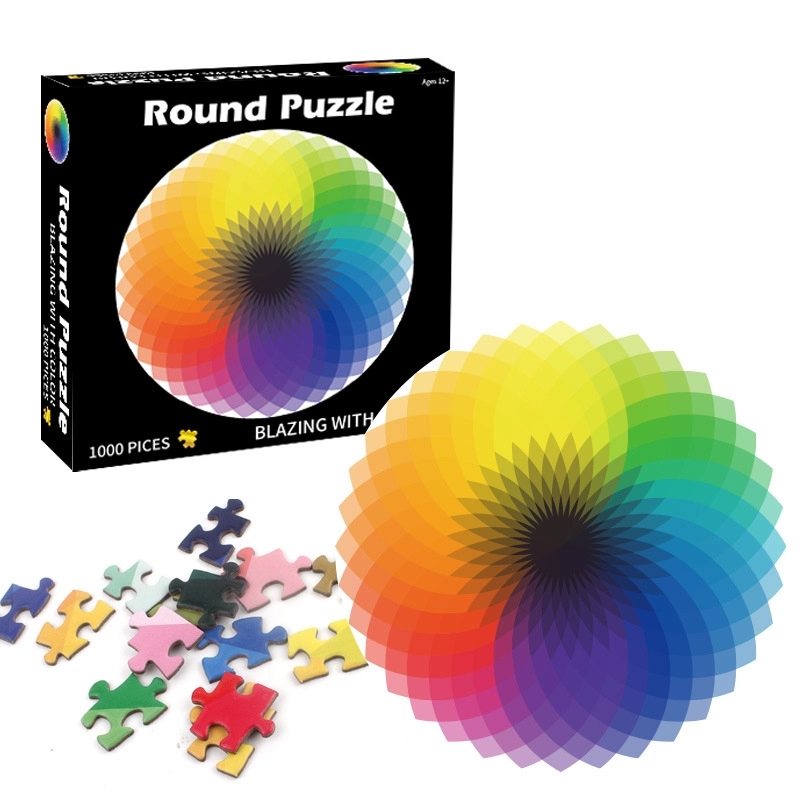 Paper Puzzles 1000 Pcs Round Jigsaw Puzzles Rainbow Palette Intellectual Game For Adults and Kids Boy Girl toys