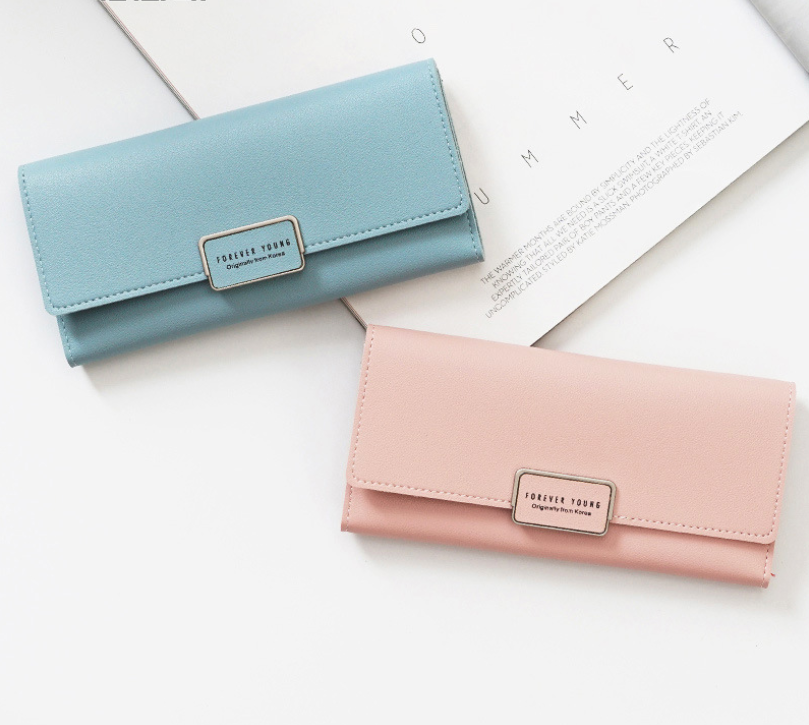Long Style High capacity Tri-fold hasp trend Clutch Wallet