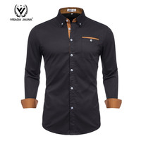 Solid Plus Size Slim Fit Cotton Men Dress Shirts Long sleeve Mens Casual Social Shirts