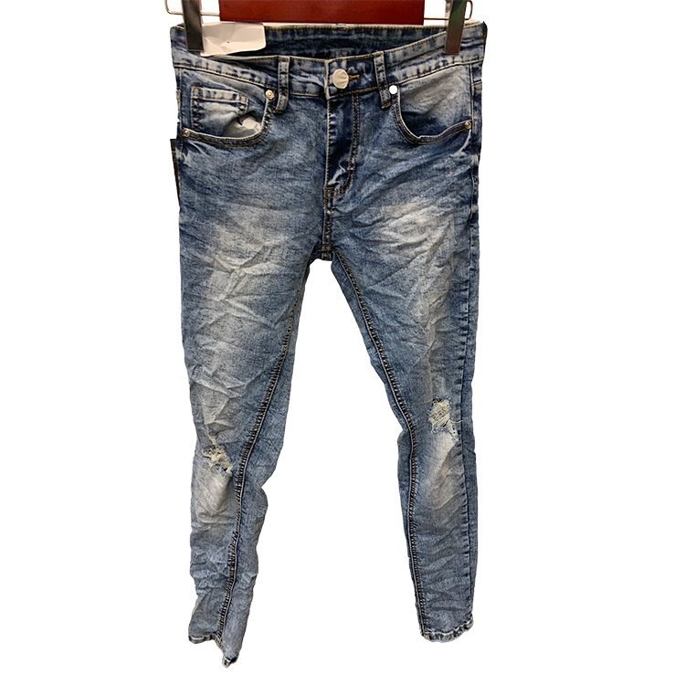 Suppliers casual pants mid-waist custom accepted urban raw denim jeans material skinny jeans