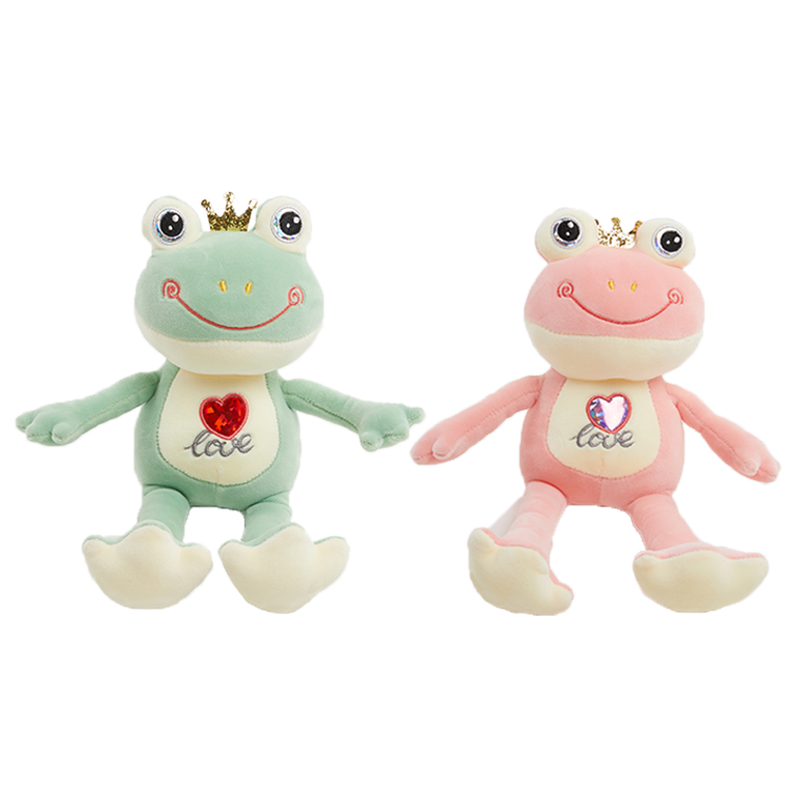 The squishy animal toy Frog Doll 14 inch Length Frog Soft toy <strong>plush</strong> Green and pink Color for Valentine gift