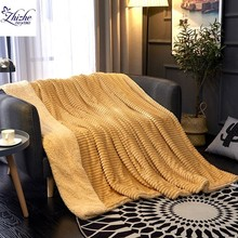 Japan and Korean style Magic fleece striped two sides flannel Sherpa blanket