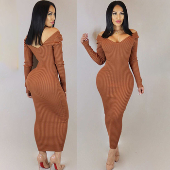 Autumn Solid Knitted Long Sleeve Backless Bodycon Midi Casual Maxi Dress