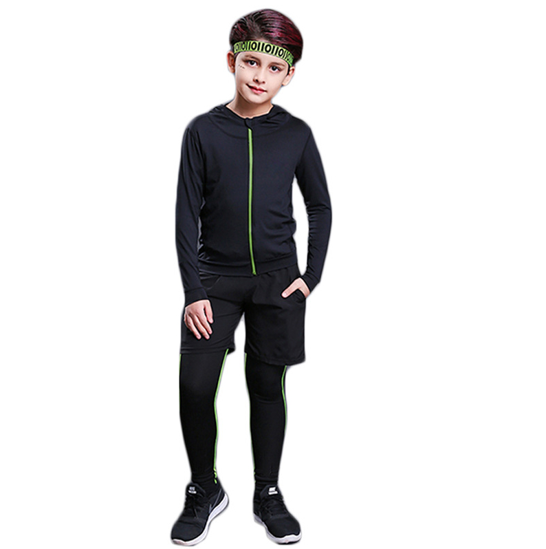 Black Costumes boys 2PCS Long Sleeve SportiveKids sports  wear