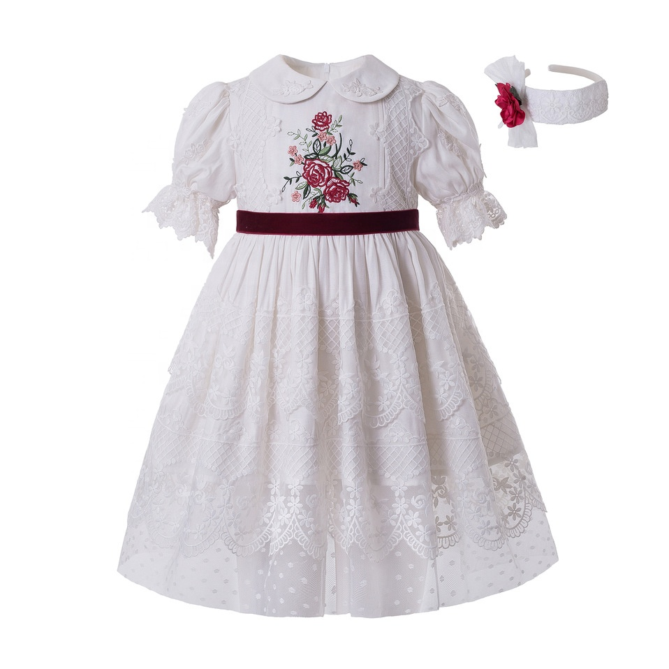 New Arrival Pettigirl Girls Dresses <strong>Spring</strong> 2020 Short Sleeve Festival Outfit for Muslim Girls Little Girl Clothes with Headband