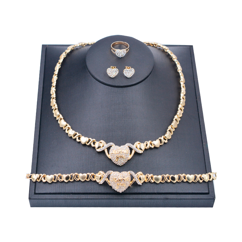 Mix Style Hot sell 24k gold women kids jewelry <strong>sets</strong>,hearts xoxo necklace <strong>set</strong> jewelry