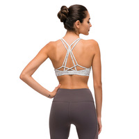 New Design Ladies High Support Cross Back Push Up Sport Bra Workout Fitness Bra Padded Yoga Tops with Built in Bra