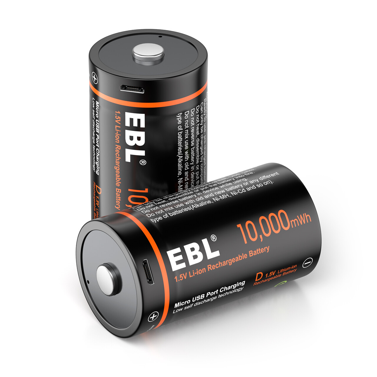 EBL 2020 Hot sales 2packs 1.5V <strong>D</strong> size usb rechargeable battery For flashlight with durable battery storage box